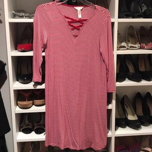Red and white striped maternity dress
